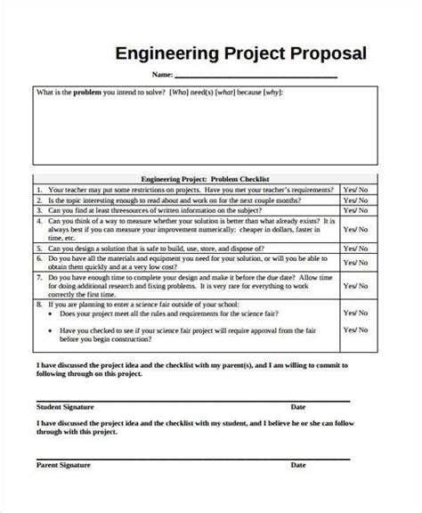 proposal format engineering 9 project proposal form sles free sle exle