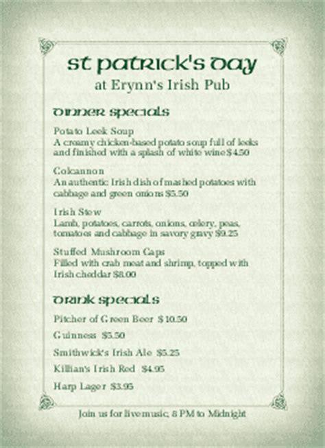 irish menu templates musthavemenus 95 found