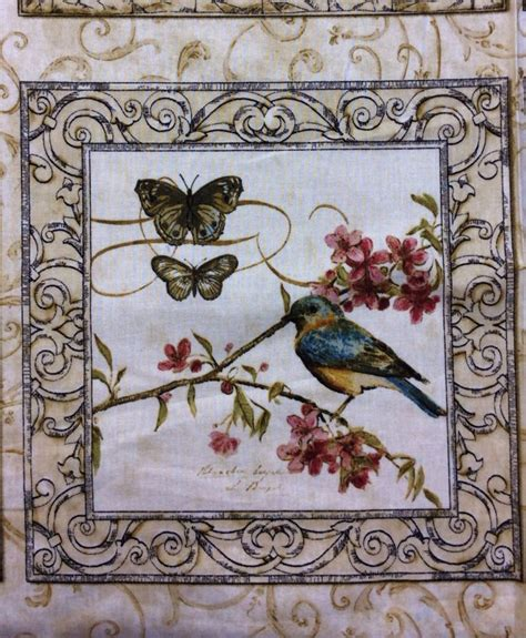 natures poetry panel birds flowers butterflies cotton fabric quilt fabric t235 235