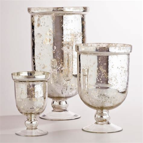 Home Decorator Vanity silver mercury glass hurricane holders traditional by