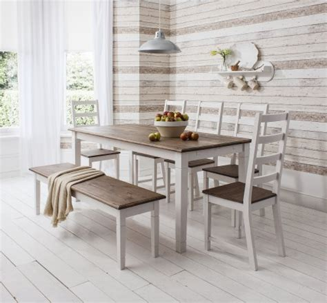 White Dining Table And Bench Set Table And 5 Chairs And Bench Canterbury Dining Table In Contemporary Pine And White The