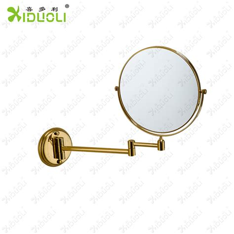 retractable mirror bathroom copper folding cosmetic mirror fashion gold plated 8