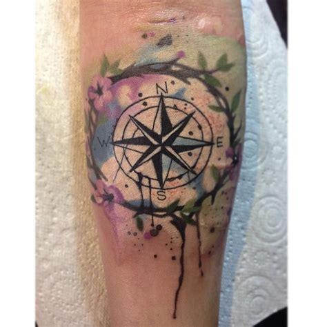 watercolour tattoo leeds ruth jamieson watercolour compass on forearm light