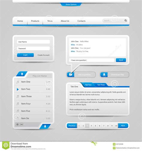 search designs web ui controls elements gray and blue on light background navigation bar buttons form