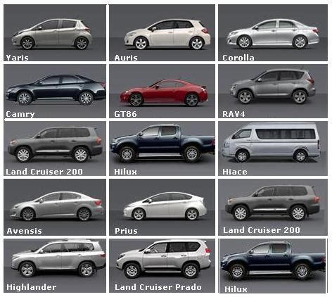 toyota model names toyota car models