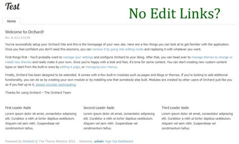 theme editor orchard display edit links around content and widgets in orchard cms
