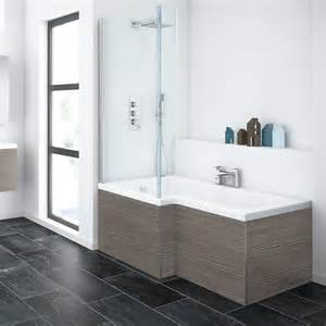 brooklyn grey avola l shaped shower bath with screen panel 1500mm right hand square shower bath and fixed screen with
