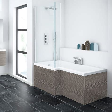 l shaped bathroom brooklyn grey avola l shaped shower bath with screen panel