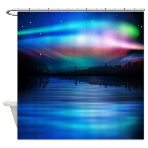shower curtain lights northern lights shower curtain by fuzzychair