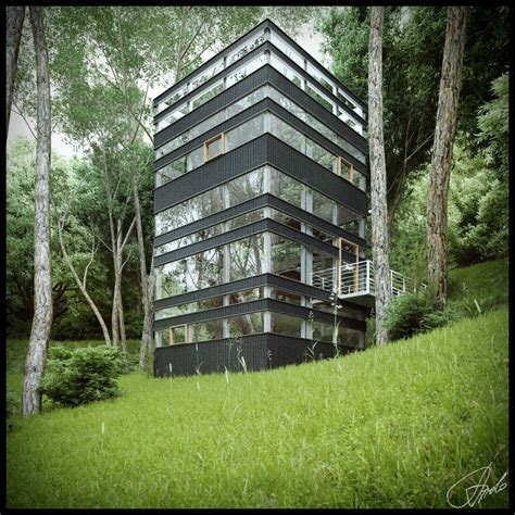 forest house japanese house in the forest visualized