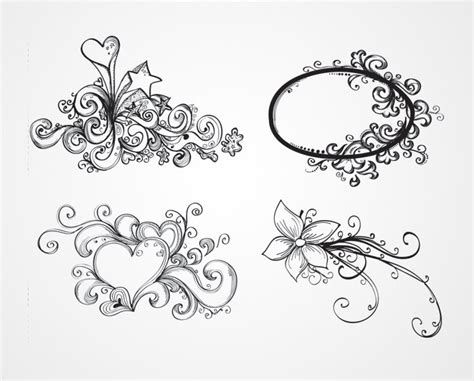 how to draw doodle swirls swirls flowers vector ornaments free