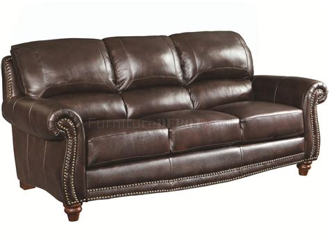 lockhart sofa 504691 in burgundy brown leather by coaster