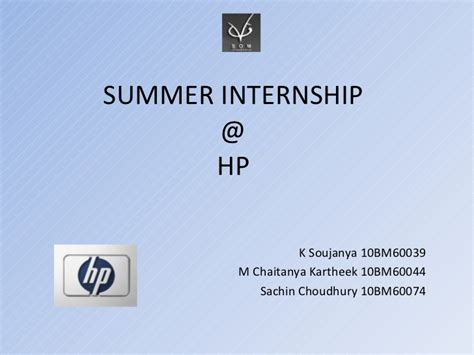 Hp Internship Mba by Summer Internship Presentation Hp