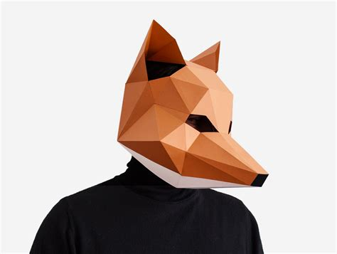 fox mask diy printable animal instant pdf diy