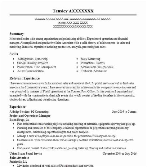 40 post office resume exles in louisiana livecareer