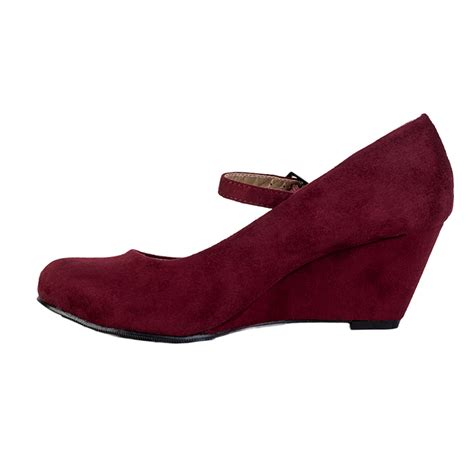 womens burgundy faux suede wedge heel