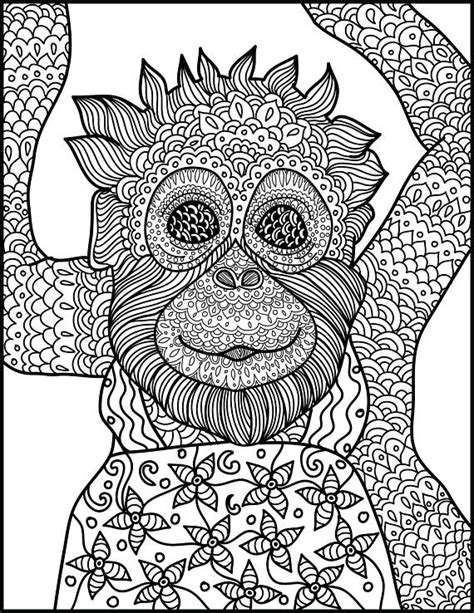 monkey coloring pages for adults animal coloring page monkey printable adult coloring page