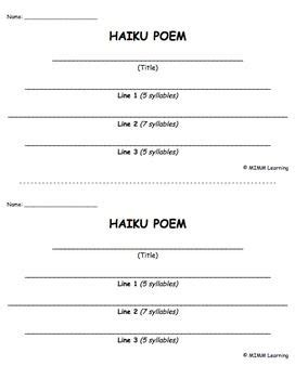 writing template haiku poem poetry dr