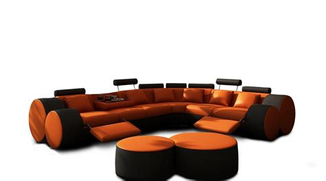 Orange And Black Sofa by 3087 Modern Orange And Black Leather Sectional Sofa And