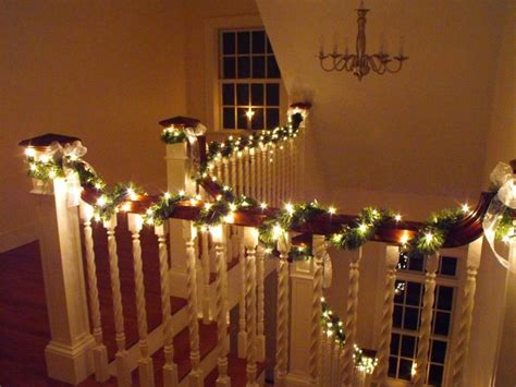 banister lights garland and light wrapped banister holiday decor pinterest