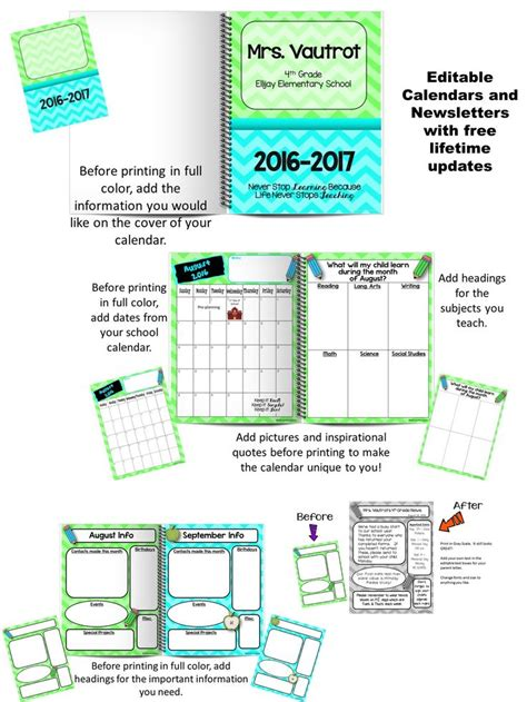 calendar newsletter template editable calendars and newsletters lime green turquoise