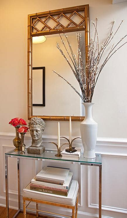 foyer glass table glass top foyer table with gold bamboo mirror