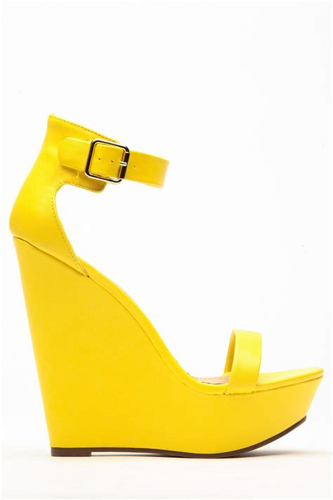 breckelles matte vivi yellow wedge cicihot wedges shoes
