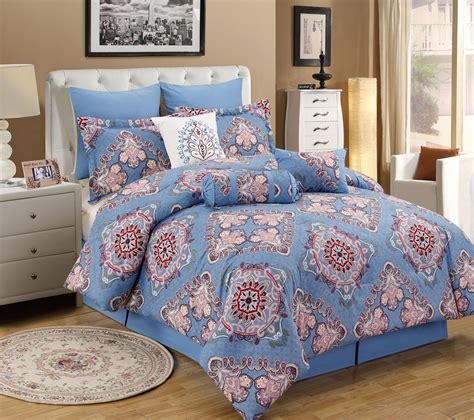 collier cbell bedding 13 piece tivoli blue pink bed in a bag set