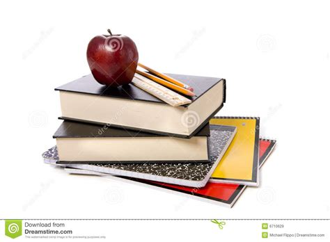 on the book stock photos school books with apple stock image image of apple color 6710629