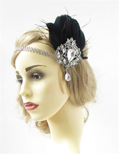 great gatsby headpieces black silver feather headpiece vintage headband flapper