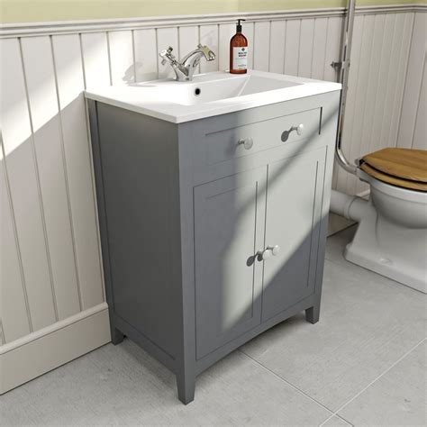 The Bath Co Camberley Grey Vanity Unit With Basin 600mm Grey Bathroom Vanity Units