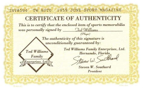 certificate of authenticity autograph template bigtimebats ted williams autographed quot sport