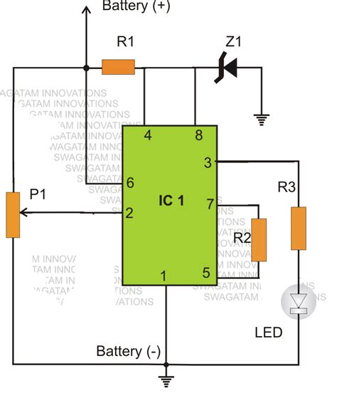 led battery voltage indicator circuit simple low battery indicator circuit using ic 555 circuit diagram centre