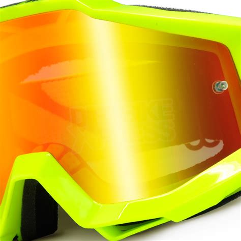 Goggle Snail Yellow Fluo 100 accuri goggles fluo yellow mirror lens dirtbikexpress