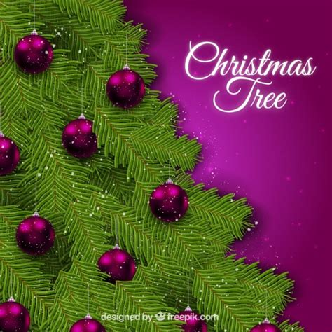 christmas tree background with purple baubles vector