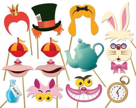 free printable tea party photo booth props alice in wonderland party photo booth props set