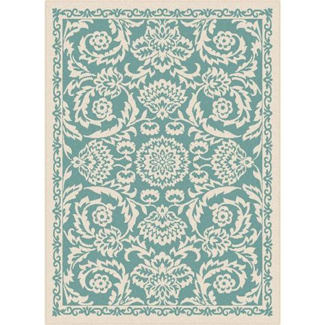 Turquoise Area Rug 5x8 Tayse Rugs Garden City Aqua 5 Ft 3 In X 7 Ft 3 In Transitional Area Rug Gct1013 Aqua 5x8