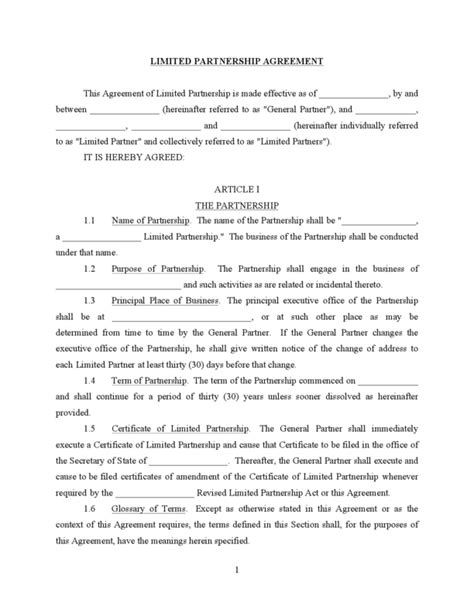 Limited Partnership Agreement Template Free limited partnership agreement legalforms org