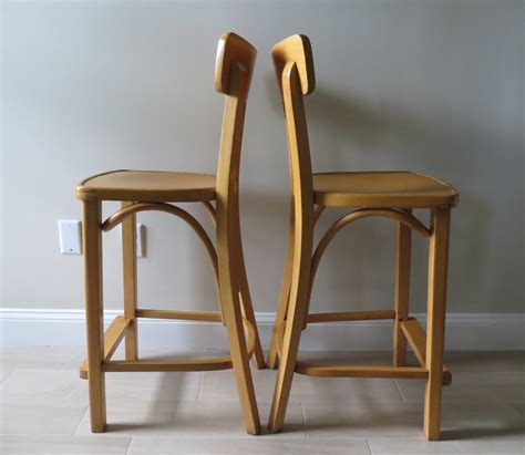 bent wood bar stool mid century thonet bentwood beech wood bar stools by zpm