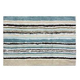 Blue And Brown Bathroom Rugs by Stripes Blue And Brown Reversible Bathroom Rug