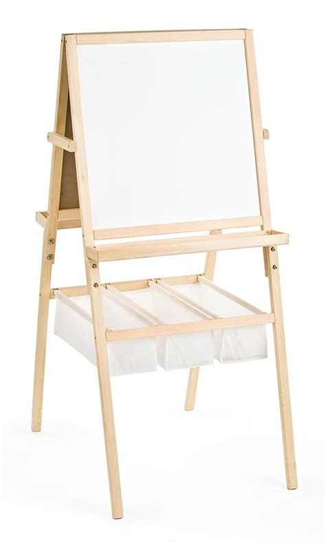 kids mutifunctional drawing board easel creative desk two sided easel features a chalkboard and whiteboard for