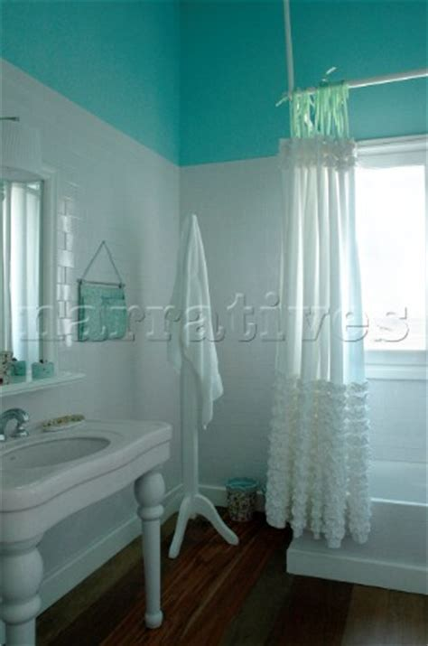 white and turquoise bathroom amee011 41 turquoise and white bathroom with ceramic wa narratives photo agency