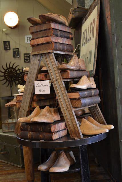 prim store displayold ladder  wooden shoe forms