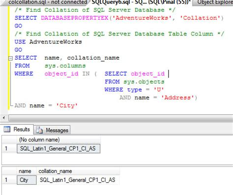 Select From Tables Sql by Sql Server Find Collation Of Database And Table Column