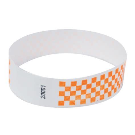How To Make Paper Wristbands - 500 neon orange checker tyvek wristbands by freshtix