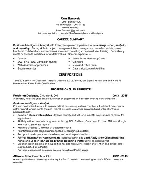 Sle Resume Of Business System Analyst Business Analysis Resume 28 Images Key Skills For Business Analyst Resume Sle Business