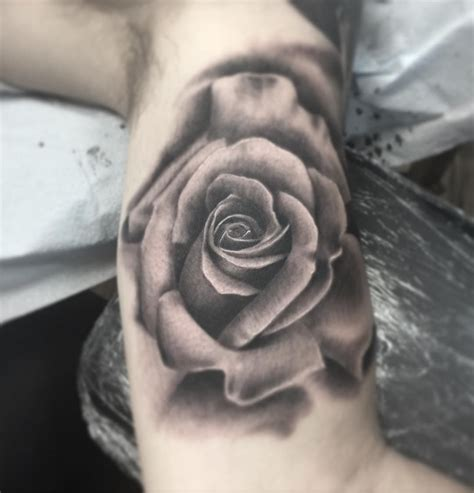 rose realism tattoo flower black and gray realistic realism by