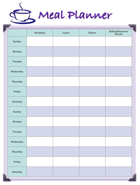time design planner free printable 2 week meal planners 4 different designs