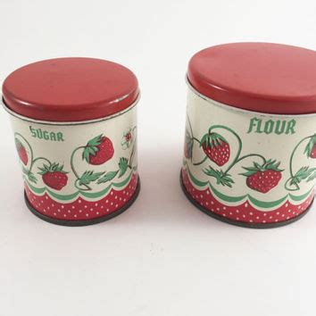 vintage set of 2 red canisters kitchen canisters old tin shop flour sugar canister set on wanelo