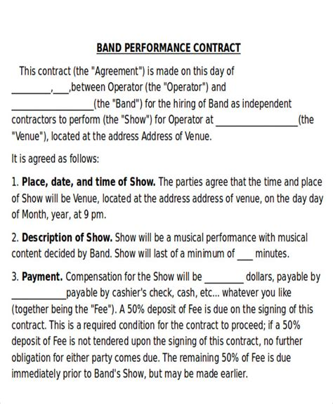 9 Performance Agreement Contract Sles Sle Templates Band Performance Contract Template